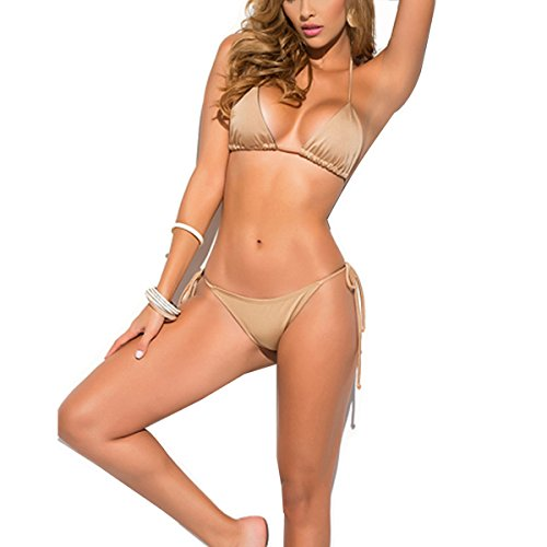 SHERRYLO Solid Women's Thong Bikini Set (Gold)