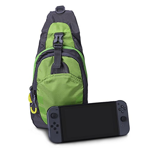 HDE Backpack for Nintendo Switch Crossbody Travel Bag for Console Games Joy-Cons and Accessories (Green)