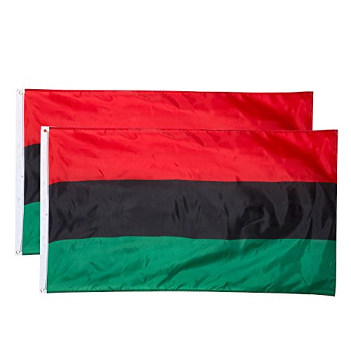 Juvale African American Flags - 2-Piece Outdoor 3x5 Feet UNIA Flags, Afro-American Flag Banners, Black Liberation Flag, Double Stitched Polyester Flags with Brass Grommets