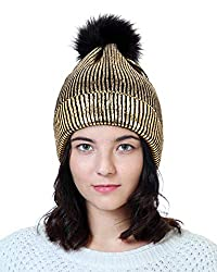 Gold-A Sequin Beanie Hat with Faux Fur