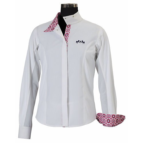 Equine Couture Girl's Kelsey Long Sleeve Show Shirt, White/Aqua, 10
