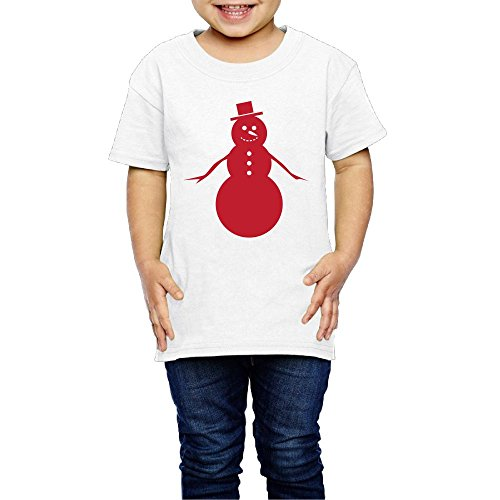 Snowman Red Children's Comfortable Casual 100% Cotton Not Shrink Short Sleeve Round Collar Clothes Casual T-shir 2T-6T