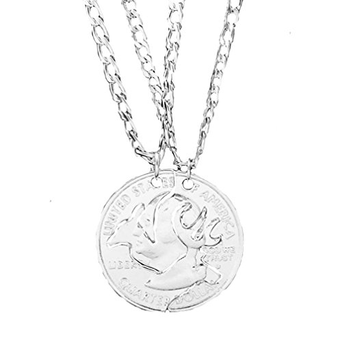 Ubeauty Silver Plated Buck and Doe Necklace Quarter Coin Cut Deer Heads Necklace (Mens Buck Necklace)