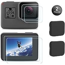Kupton Screen Protector for GoPro Hero (2018) / 6 / 5, Upgraded Tempered Glass Screen Protector Film+Tempered Glass Lens Protection Film+Lens Cover Lens Cap Accessories for Go Pro Hero6 Hero5-2 Packs