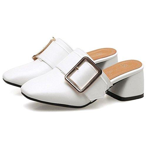 White Ancho Shoes RAZAMAZA Mules Tacon Mujer 6wvqcS4f1O