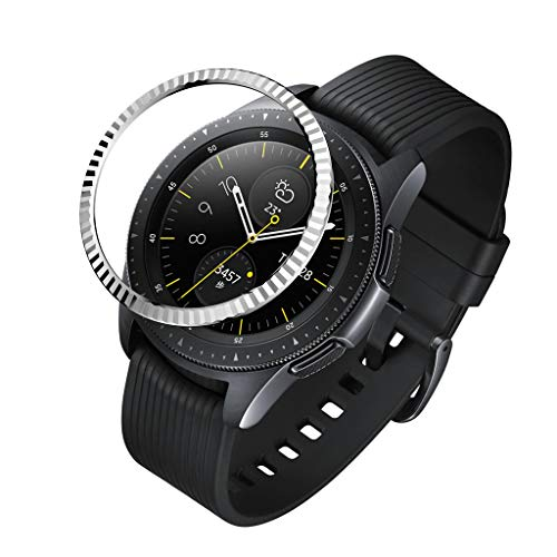 Cywulin Bezel Ring for Samsung Galaxy Watch 42mm, Gear Sport Adhesive Cover Stainless Steel Metal Tachymeter Anti Scratch Aluminium Protection Accessory for Galaxy Watch Active, Gear S2 (Silver-B)