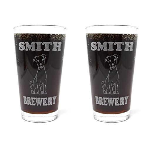 Personalized Custom Jack Russel Beer Mugs With Dog Breeds - 2 Pack of Made in USA Pint Glasses by Hot Dog Collars