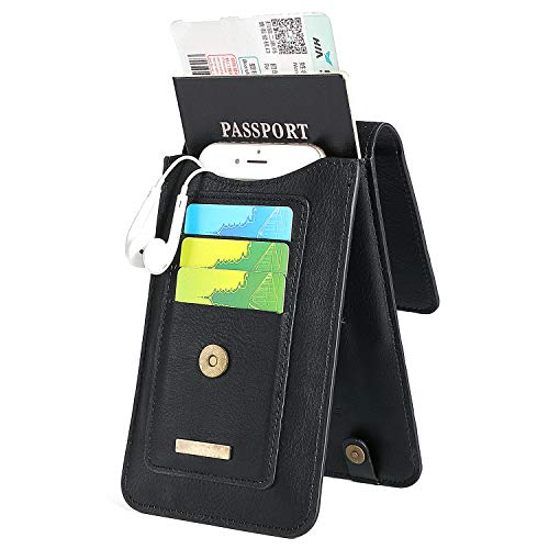 INFLATION Multi-Purpose Waist Bag RFID Blocking Travel Passport Leather Card Phone Case Document Organizer ()