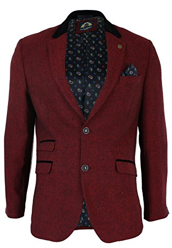 Marc Darcy Mens Slim Fit Burgundy Maroon Black Herringbone Tweed Vintage Blazer Jacket Retro Wine 36