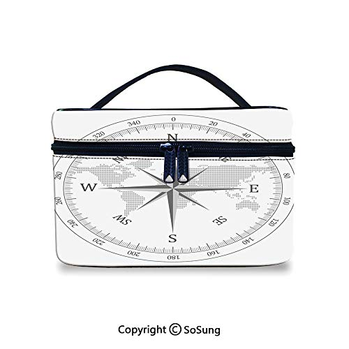 Compass Decor Toiletry Bag Portable Compass Illustration with World Map Maritime Seaman Life Equipment Monochromic ArtworkWaterproof Toiletry Bag,9.8x7.1x5.9inch,Gray White