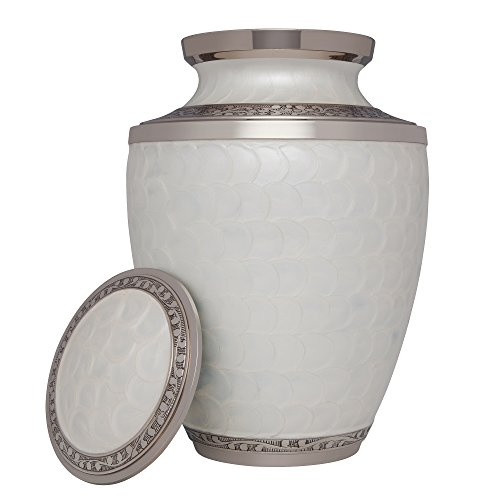 White Funeral Urn by Liliane Memorials - Cremation Urn for Human Ashes - Hand Made in Brass - Suitable for Cemetery Burial or Niche- Large Size fits remains of Adults up to 200 lbs- Petals White Model by Liliane Memorials (Image #1)