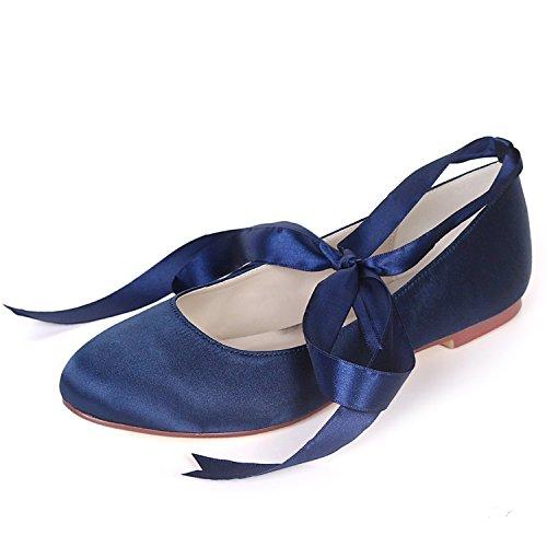 Honor Boda L yc Heels Ribbon Mujer Navy Moda Zapatos De Closed Damas Gusta Blue Plataforma Toe Low 6cm Me 0 Heel wtUtr