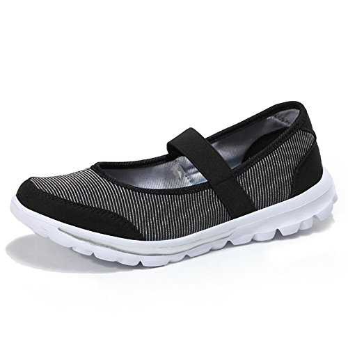 Caminar Bottom Boca Shallow Women's Antideslizantes Tamaño New Tela para Transpirables de Zapatos black Bottom Bottom Gran Soft de Zapatos Hasag Shoes Femeninos Mother Flat vZa7w