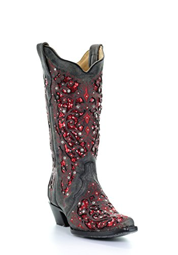 Corral Women's Rouge Ali Glitter Inlay Crystals Leather Cowgirl Boots - Black