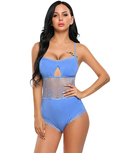 ADOME Women One Piece Lingerie Lace Fishnet Teddy Bodysuit Mesh Babydoll (S, Blue(Cotton with lace))