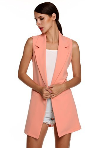 Meaneor Women's Oversized Open Longline Sleeveless Duster Blazer Jacket Coat (M, Pink(FBA)) by Meaneor (Image #1)