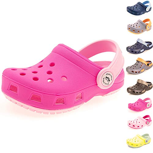 Sawimlgy Toddler Little Kids Comfort Clogs Slip On Garden Slippers Shoes Water Sandals Boys Girls Lightweight Pool Beach Play Shoe (9 Toddler, Aa-Rose)