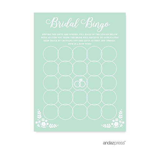 Andaz Press Floral Mint Green Wedding Collection, Bridal Shower Bingo Game Cards, 20-Pack