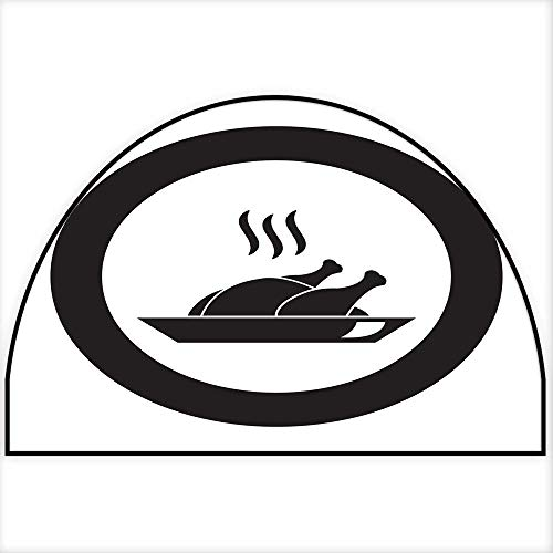 Hua Wu Chou Half Round Coir Door mathalf Round Dog mat W30 x H18 INCH Thanksgiving Turkey or Chicken on Plate Vector icon Black