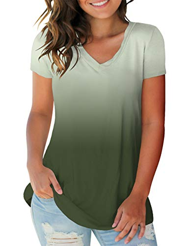 Womens Tops and Blouse Trendy Teen Tunic Spring Soft Casual T Shirts Vneck Ombre Green - Cotton Blouse Jersey