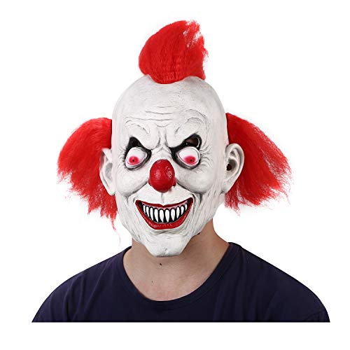 Halloween Scary Clown Costumes Mask With Red Hairs Adult Latex Masks Men's Scary Red-Eyed Clown 3/4 Pennywise Mask -