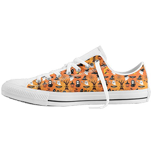 Halloween Monster Print Classic Canvas Shoes For Men/Women Comfort Low-Top Non-slip Flats Casual Sneakers (Halloween Shoes)