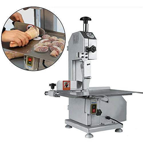 BSTOOL Commercial Electric Meat Band Saw Bone Sawing Machine/Slicer Frozen Meat Fish Bone Sawing Pig's Trotters Beefsteak Sawing Cutting with Saw Blade (110V/650W)