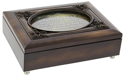 Cottage Garden Dark Woodgrain Music Box with Poem Insert Amazing Grace (Serenity Prayer Floral)