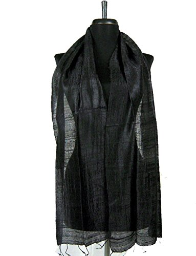 (BTPx Women's Handmade 100% Thai Raw Silk Scarf Solid (Black R1))