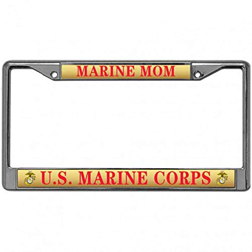 (Niudunin Laser Engraved License Plate Frame with Screws Caps License Plate Frame Automotive Marine Mom US Marine Corps License Plate Frame Standard US Size)