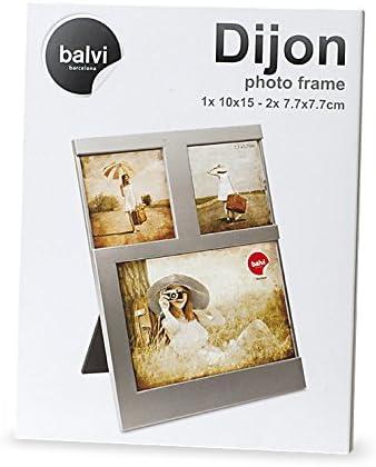 Balvi Cadre Dijon Coloris argent/é Capacit/é 2 Photos de 10x15 cm Cadre Photo /à Poser Plastique 25x16 cm