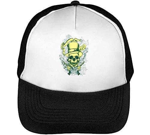 Top Hat Guns Skull Gorras Hombre Snapback Beisbol Negro Blanco