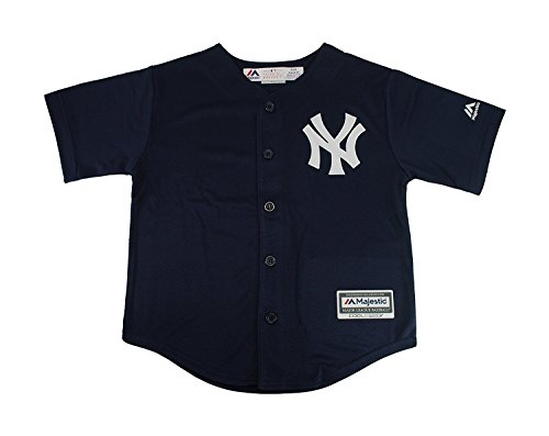 Majestic Kid's MLB New York Yankees Baseball Navy Blue Jersey (Large 7) by Majestic