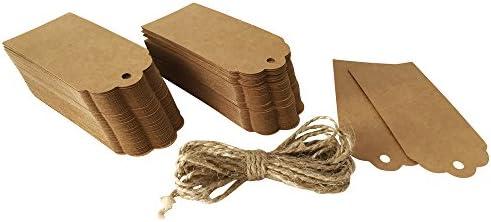 ewtshop® 120 x Geschenk Anhänger, Hängeetiketten, Anhängeetiketten, Etiketten, Schilder, 45 x 95 mm, mit 300 cm Hanfseil