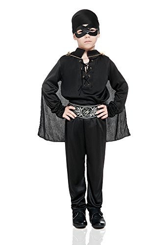 Kids Boys Black Mask Costume Masked Hero Avenger Noble Robber Dress Up Role Play (3-6 years, (Robin Hood Costumes Kit)