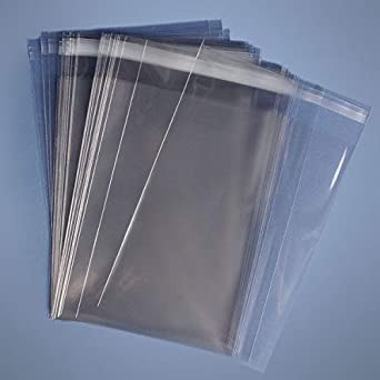 100 Pcs 9x12 1.6Mil Clear Resealable Poly Cello T-Shirt Bags P Tape on Bag