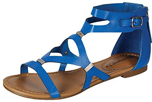 Breckelles Womens Ruby-61 Sandali Sintetici Con Strappy Sandali Gladiatore Posteriori ... Azzurro