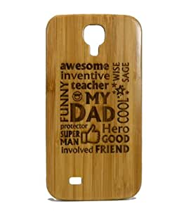 Awesome Dad Samsung Galaxy S4 Case. Father Gift on Eco-Friendly Bamboo Wood. Dads Daddy Man Husband Present