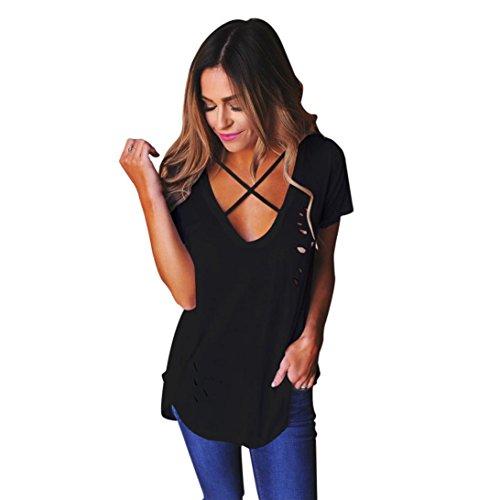OverDose Moda mujer V-cuello corto manga agujeros camisa blusa informal Tops T-shirt Negro