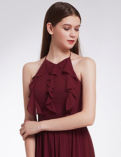 Pretty Ever Lang Damen Elegant Burgundy 07201 E Kleid Brautjungfern fpqdpn