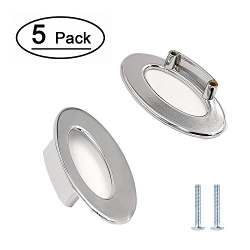Chrome Oval Knob - Chrome Cabinet Handles Cupboard Ring Pulls Knob - LONTAN LH740CP32 Oval Pull Ring Handle 1-1/4 inch Hole Centers Door Pull Ring Cabinet Knobs 5 Pieces