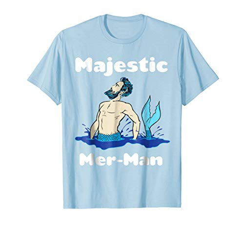 Mens Official Majestic Mer-Man T-Shirt Large Baby Blue