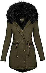 Womens Plus Size Hooded Coat Winter Warm Plush Jacket Thicken Velvet Fleece Lined Parkas Long Slim Outwear Ove