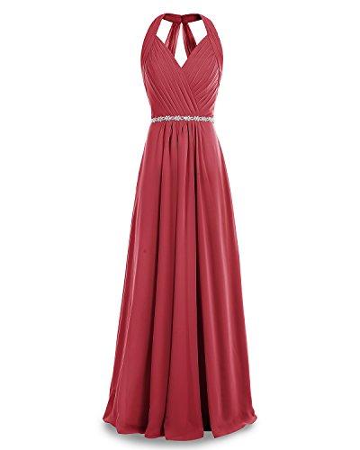 Dress Dark Dress Evening V Chiffon Long Red Ruched Bridesmaid Party Bridesmay Neck wqzZIvn0