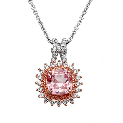 (Jewelili 14K Pink Gold Over Sterling Silver Created Morganite Cushion with Created White Sapphire Pendant Necklace, 18
