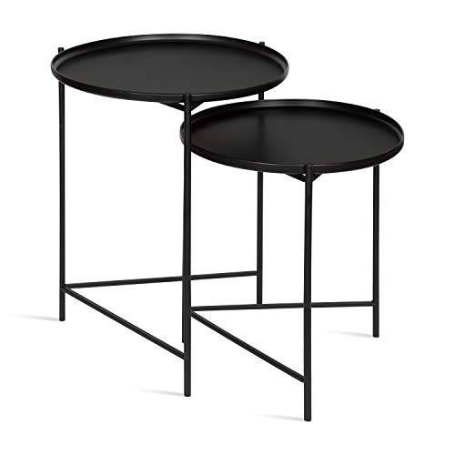 Kate and Laurel Ulani Set of 2 Nested Round Metal End Tables, Black ()