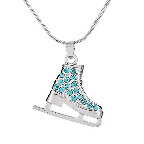 TEAMER 3D Turquoise Crystal Ice Skate Necklace Figure Skating Pendant Skater Necklace Jewelry Gifts for Teens Girls Women (Used Figure Skating Competition Dresses For Sale)
