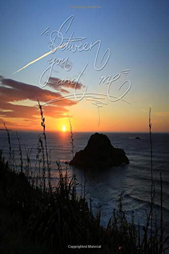 Between you and me: 6x9 Inch Lined A beautiful Journal/Notebook for lovers and best friends - Awesome, Sunset, Orange, Sky, Nature, Island, Calligraphy Art with Photography
