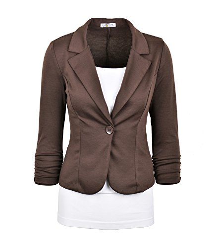 Auliné Collection Women's Casual Work Solid Color Knit Blazer Brown Medium