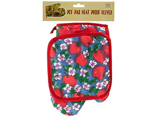 Quilted Fruit & Floral Print Oven Mitt & Pot Holder Set - Pack of 54 by bulk buys